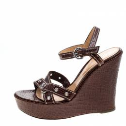 Sergio Rossi Brown Croc Embossed Leather Wedge Ankle Strap Sandals Size 40 144573