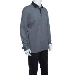Ermenegildo Zegna Grey Knit Ribbed Contrast Collar Sweater XL 145571