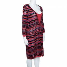 M Missoni Multicolor Patterned Knit Long Sleeve Tunic L