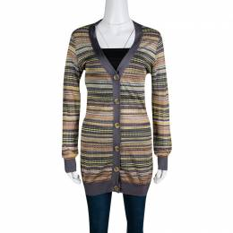 M Missoni Multicolor Patterned Knit Contrast Ribbed Trim Cardigan M
