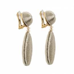 Oscar De La Renta Gold Tone Threaded Clip-on Drop Earrings