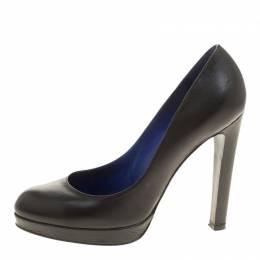 Sergio Rossi Grey Leather Platform Pumps Size 36.5 140657