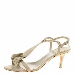 Dior Beige Leather T-Strap Sandals Size 39.5