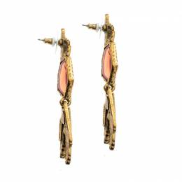Oscar De La Renta Red Crystal Gold Tone Long Earrings 142213