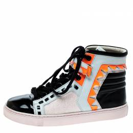 Sophia Webster Multicolor Leather and Glitter Riko High Top Sneakers Size 37 141402