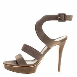 Gianvito Rossi Grey Suede Platform Sandals Size 40 133972