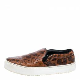 Celine Orange And Black Watersnake Leather Skate Slip On Sneakers Size 38.5 138311