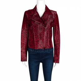 Valentino Red Leopard Pattern Calf Fur Zip Front Biker Jacket M 133310