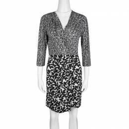 Diane Von Furstenberg Monochrome Printed Silk Jersey Wrap Effect Melodi Dress M 137303