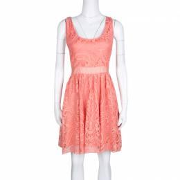 Alice + Olivia Salmon Pink Lace Odette Cross Back Sleeveless Dress S 133316