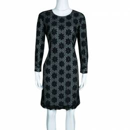 See By Chloe Monochrome Checkered Floral Mesh Overlay Shift Dress L 133465