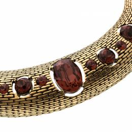 Oscar De La Renta Red Crystal Gold Tone Necklace 134452