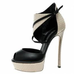 Casadei Beige And Black Python Effect Leather Ankle Cuff D'orsay Sandals Size 35 136682