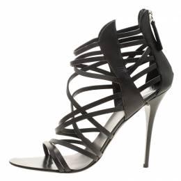 Giuseppe Zanotti Design Black Leather Henry Strappy Open Toe Sandals Size 38.5 136347