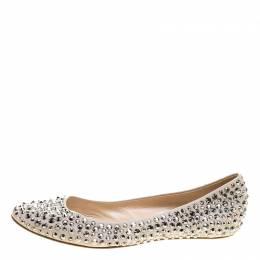 Casadei Beige Crystal Embellished Leather Ballet Flats Size 40 137000