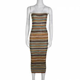 Missoni Multicolor Striped Rib Knit Bodycon Strapless Tube Dress M 135460