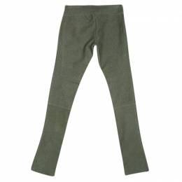 Diane Von Furstenberg Brown Weathered Suede Leather Skinny Gretel Pants S 133711