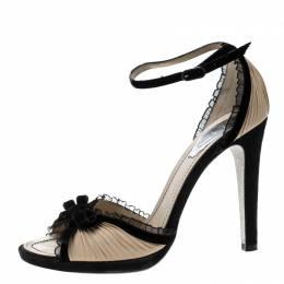 Renè Caovilla Black/Beige Pleated Fabric Bow Detail Ankle Strap Sandals Size 38.5 Rene Caovilla 137639