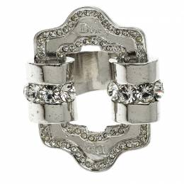 Dior Crystal Embellished Silver Tone Ring Size 49