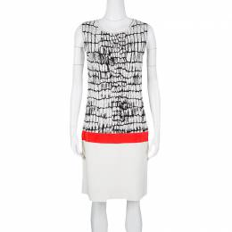 Giambattista Valli Monochrome Jacquard Knit Contrast Waist Detail Sleeveless Dress L 126803
