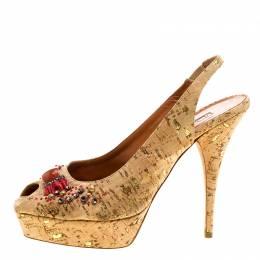 Oscar De La Renta Light Brown Leather Embellished Slingback Platform Sandals Size 38 128848
