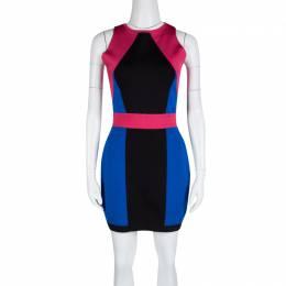 Balmain Abstract Colorblock Sleeveless Bodycon Dress L 131404