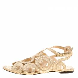 Charlotte Olympia Beige Python Embossed Leather Elisa Sandals Size 36 132059