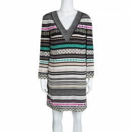 Diane Von Furstenberg Multicolor Printed Silk Embellished Ruby Dress S 128997