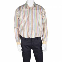 Etro Multicolor Striped Cotton Contrast Cuff Detail Long Sleeve Shirt L