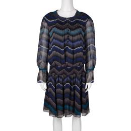Diane Von Furstenberg Multicolor Printed Silk Smocked Detail Kelley Dress M 131046