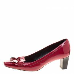 Tod's Cherry Red Patent Leather Kiltie Fringe Pumps Size 37.5 126954