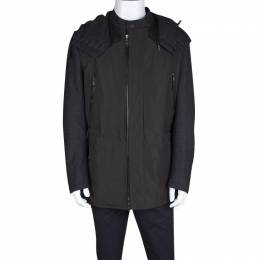 Lanvin Charcoal and Olive Leather Trim Zip Front Hooded Wool Jacket L 127855