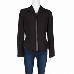 Max Mara Black Satin Trim Detail Contrast Lined Blazer M 129195
