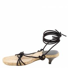 Hermes Black Suede Cord Tie Up Sandals Size 35 117833