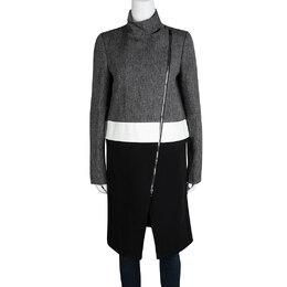 Joseph Tricolor Techno Tweed Zip Detail Preston Long Coat M