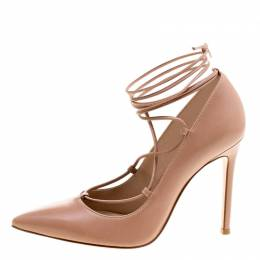 Gianvito Rossi Tan Leather Femi Lace Up Pointed Toe Pumps Size 35 121342