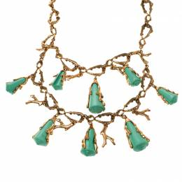 Oscar De La Renta Turquoise Resin Shell & Gold Tone Coral Two-tier Necklace 118516