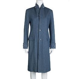 Ermanno Scervino Denim Embellished Long Jacket S 113817