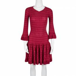 Alaia Red Chenille Wool Patterned Long Sleeve Skater Dress M 125005