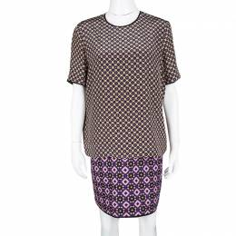 Victoria, Victoria Beckham Multicolor Printed Silk and Jacquard Short Sleeve Dress M