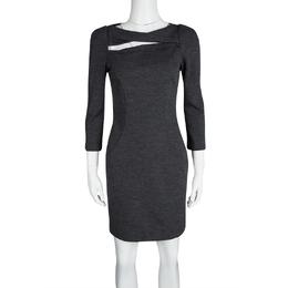 Diane Von Furstenberg Grey Wool Cutout Detail Slashed Arita Dress S 117218