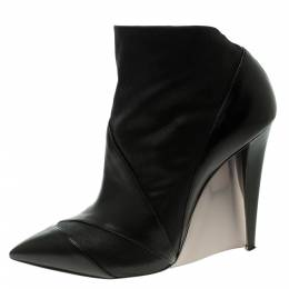 Casadei Black Leather Accent Heel Pointed Toe Ankle Boots Size 39.5 118861