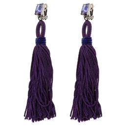 Oscar De La Renta Purple Crystal Long Tassel Clip-on Earrings 118592