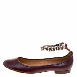 Celine Chocolate Brown Leather Chain Strap Ballet Flats Size 39 113765