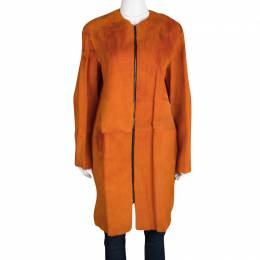 Joseph Orange Fur Kangaroo Skin Zip Front Sydney Coat M 114926
