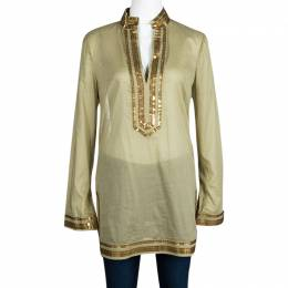 Tory Burch Green Cotton Sequin Embellished Long Sleeve Tunic M 108135