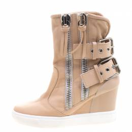 Giuseppe Zanotti Design Beige Leather Buckled Double Zip Accent Wedge Sneakers Size 36 103974