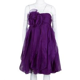 Marchesa Notte Purple Floral Applique Ruffled Strapless Dress L 107890