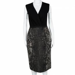 Giambattista Valli Black Croc Print Sleeveless Dress M 112053