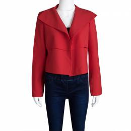 Oscar De La Renta Red Wool Open Front Cropped Jacket M 107130